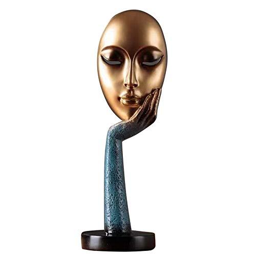 Vaorwne Moderne Menschliche Meditierende Abstrakte Dame Gesicht Charakter Harz Statuen Skulptur Kunst Handwerk Figur Startseite Dekorative Anzeige Blau