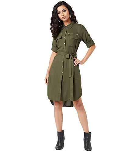 Miss Olive Rayon Shirtdress Dress (MOSS20D14-34-187_Olive Green_XL)