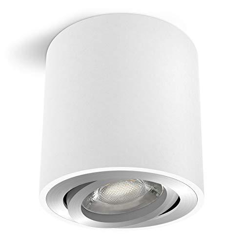 linovum CORI Deckenstrahler Aufbau LED in weiß silber & schwenkbar - mit LED GU10 Lampe 6W warmweiß 230V - runder Aufbauspot