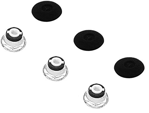 JNSA Eartips Replacement Ear Tips Kits Earpads Foam Set Cushion Compatible with Plantronics Voyager Legend, 5200, 5220, 5210 Series Headphone, Eartip with Foam Cover 3 Sets,Small Size,Clear