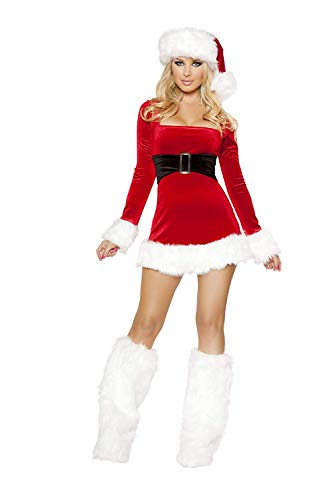 Christmas Women's Mrs. Claus Santa Dress Costume with Furry Leg Warmers 3 Pieces Large Red