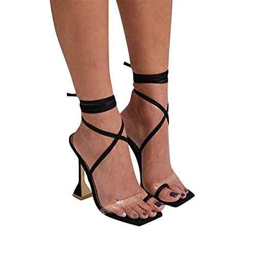 Sandales d'habillement à talon aiguille pour femme 2021 Été Sandales à bretelles croisées à tout phosphore 6 cm - Noir - 41