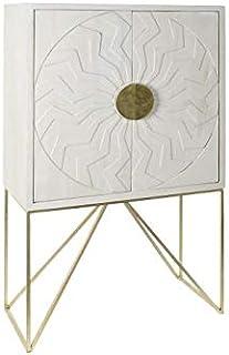 DRW Aparador con 2 Puertas de Mango y Metal Mandala en Blanco 885x43x150cm