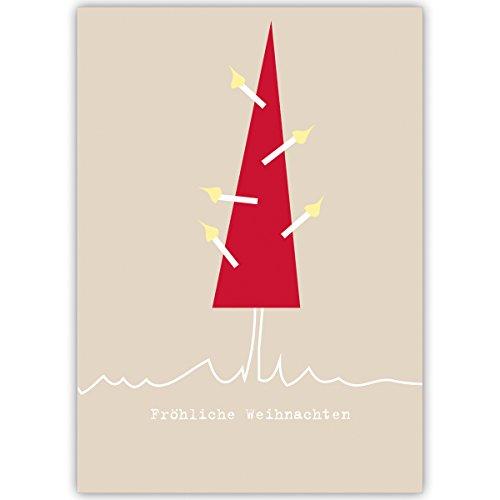 """20 Stück Set Designer Weihnachtskarten mit Umschlägen mit Weihnachtsbaum, innen weiá als gesch""""ftliche Neujahrskarte, Firmen Weihnachtskarte fr Kunden, Mitarbeiter: Frohe Weihnachten"""