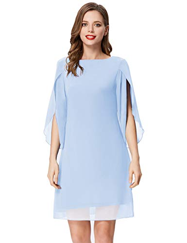 Damen Sommer Chiffon Kleid 3/4 Ärmel Loose Fit Elegant Midi Abendkleid XL Hellblau CL11125-11
