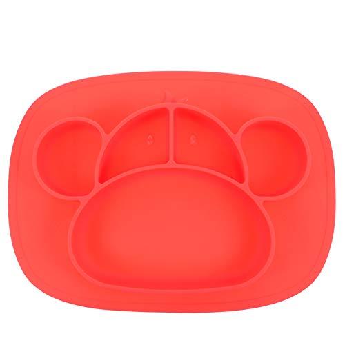 Kisangel Silicona Bebé Dividido Placa Portátil Antideslizante Cute Ventosa Platos de Alimentación Bebé Cena Plato para Niños Rojo