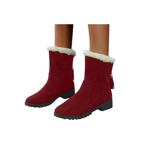 Beudylihy Stivali invernali da donna in peluche, stivaletti a cuneo in tinta unita, eleganti stivali da neve con plateau, Colore: rosso, 38 EU