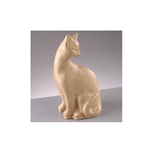 Efco zittende kat, draaibaar, van papier-maché, hoogte 19,5 cm, breedte 9 x diepte 8 cm