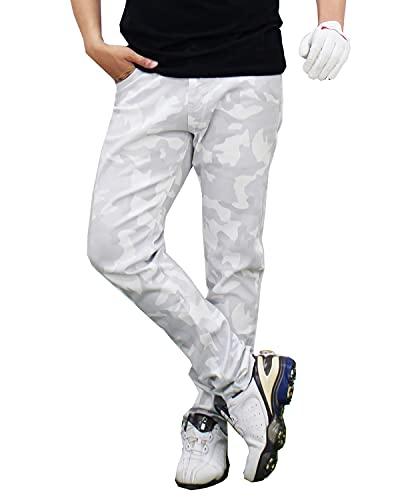 [トップイズム] ゴルフパンツ メンズ ゴルフウェア ストレッチ 迷彩柄 YKKファスナー カツラギ カモフラ スキニー チノパン 秋冬 春夏 14-ホワイトカモ XLサイズ