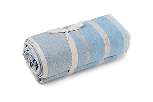 HomeLife - Überwurf für Sofa, gestreift, 260 x 260 cm, hergestellt in Italien, Mehrzweck-Überwurf aus Baumwolle, Granfoulard Sommer-Tagesdecke für Doppelbett [Doppelbett, Hellblau]