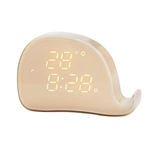 Enjoy Best Time Digital LED Light Alarm Clock With Temperature,Cute Whale Animal Table Wall Magnetic Time Two Alarms/Snooze Clocks For Kids (USB Cable Included)