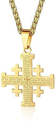 Collar Acero inoxidable Jerusalén Cruz Collares pendientes para Mujeres Hombres Sagrada Biblia Cadenas Collares Joyería religiosa medieval Regalo Colgante Collar Regalo para Mujeres Hombres Ma