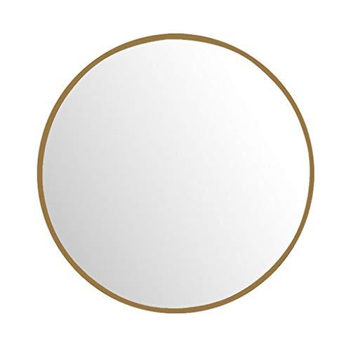Runder Spiegel zur Wandmontage, Goldrahmen, Eisen, Kunst, Badezimmerspiegel, gebohrte Löcher/bohrfreies Loch mit komplettem Kit (40 cm / 15,7 Zoll ~ 80 cm / 31,4 Zoll)