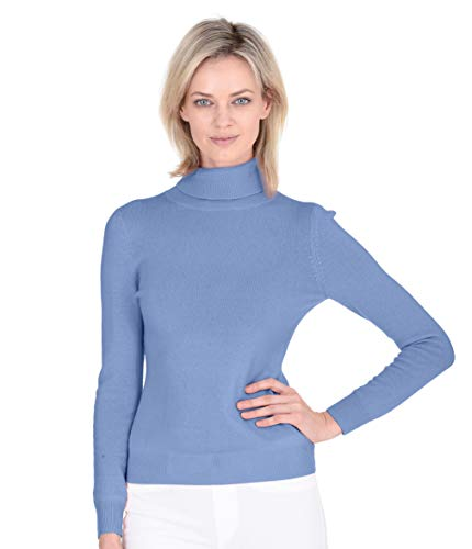 Cashmeren Soft Turtleneck Sweater Cashmere Wool Classic Jersey Knit Long Sleeve Pullover for Women (Angel Blue, Medium)