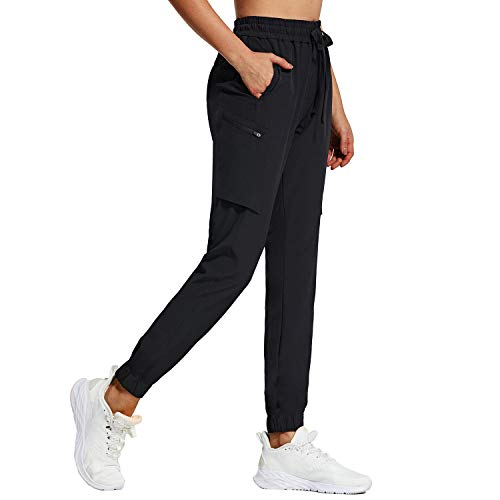 BALEAF Women's Hiking Cargo Pants 7 Pockets with Zippered Lightweight Athletic Quick Dry UPF 50+ Water Resistant Drawstring Black Size M