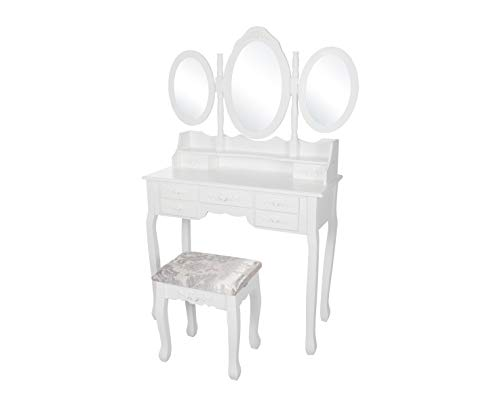 Kaptafel Bella wit met zitbankje en spiegel