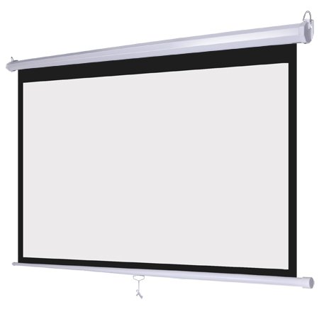 """White Manual Pull Down Projection Screen 100"""" Diagonal 16:9 Wide View Wall Ceiling Mount Steel Case for Home Movie Theater Office Video Presentation Projector"""