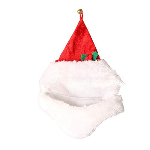 Pet Puppy Cat Christmas Hat Santa Beard Cap Dog Xmas Dress-up Costume-BCVBFGCXVB(Red)