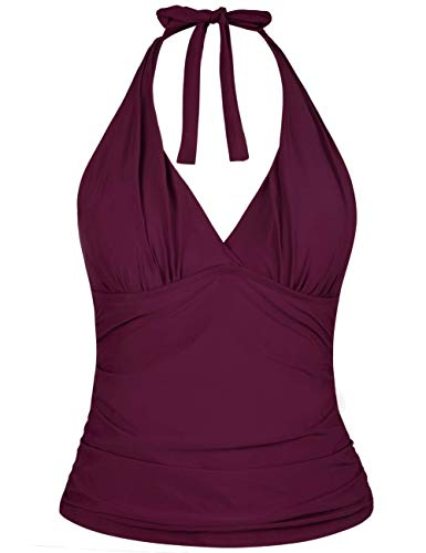 Hilor Women's Plunging V Neck Halter Swim Tops Shirred Tankini Top New Version Burgundy 12