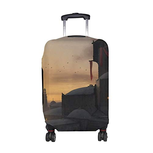 Castle Tower Architecture Pattern Print Travel Luggage Protector Baggage Suitcase Cover Fits 18-21 Inch Luggage