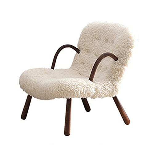 Feixunfan Sofa Tub Chair Single Sofa Nordic Minimalist Modern Bedroom Balcony Solid Wood Armchair Suede Small Sofa Lounge Chair for Living Room Bedroom (Color : White, Size : 76x85x66cm)
