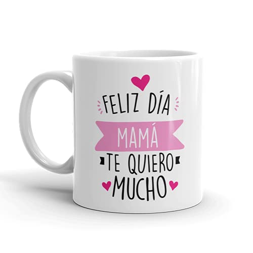 Kembilove Taza regalo día de la madre – Tazas Desayuno para Mamá con Mensaje Feliz día mamá te quiero mucho – Tazas originales – Regalo para madres