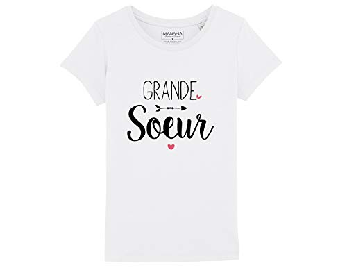 Tshirt Fille - Grande Soeur - 8 Ans | T Shirt imprimé en France 100% Coton Bio | Teeshirt Enfant - Tshirt Mignon - Cadeau de Naissance