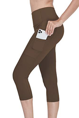 Menore Femmes Pantacourt de Yoga Taille Haute Capris avec Poches latérales Legging Femme Sport Yoga Fitness Jogging Gym Capri