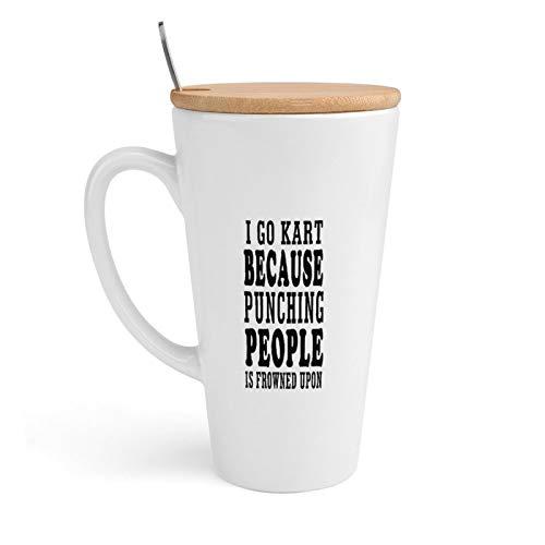 Taza de cerámica para café, I Go Kart Because Punching People is Frowned Upon, taza de té con tapa y cuchara para oficina y hogar, 18 onzas