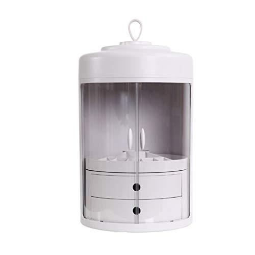 Portable Cosmétique Boîte de Rangement, ABS Organisateur de Maquillage 360° Rotation Double Porte avec 2 Tiroirs et Poignée de Transport - Rose (Color : White)