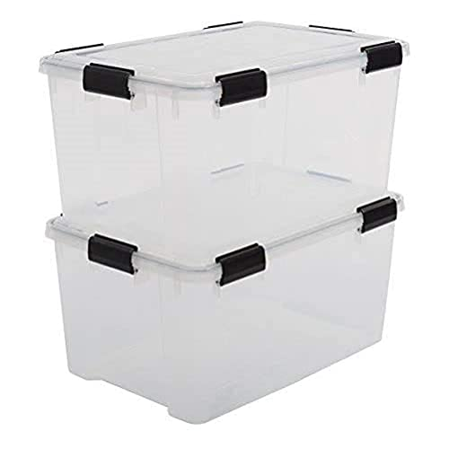 Iris Ohyama 135454 Set de 2 boîtes de Rangement hermétique Air Tight Box 50 L, Plastique, Transparent