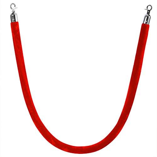 AREBOS Kordel aus Samt für Personenleitsysteme | 1,5 Meter | rot | Beschläge: Silber