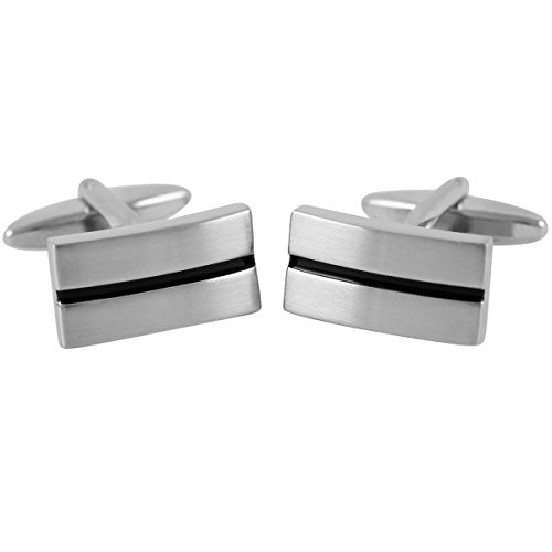 Lindenmann Cufflinks/Cuff Buttons, Silvery with Lacquer Ornament in Black, Gift Box, 2678