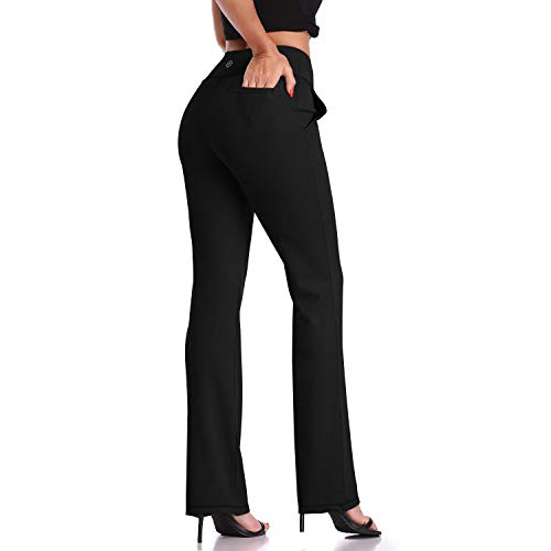 DAYOUNG Bootcut Yoga Pants for Women Tummy Control Workout Bootleg Pants High Waist, 4 Way Stretch Pants Y52-Black-S