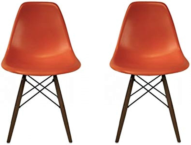 silver Import Eames Style Side Chair Walnut Wood Legs Eiffel Dining Room Chair in orange Set 2