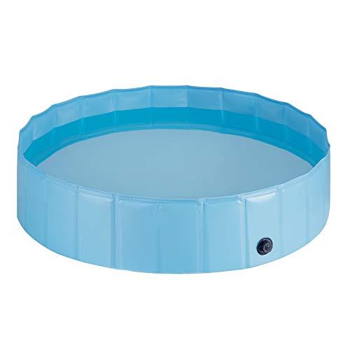 EUGAD 0010GYYC Hundepool Ø120cm Hunde Swimmingpool Planschbecken Haustier Schwimmbad Badewanne Für Hunde Katzen Faltbares Doggy Pool Katzenpool Blau 120x30cm