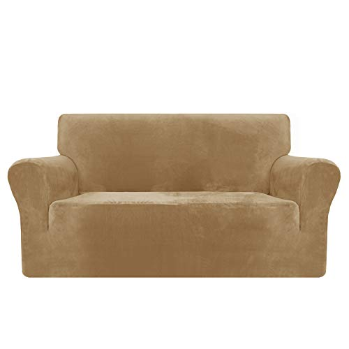 MAXIJIN Thick Velvet Sofa Covers 2 Seater Super Stretch Non Slip Loveseat Covers for Living Room Dogs Cat Pet Plush Love Seat Couch Slipcovers Elastic Furniture Protector (2 Seater, Camel)