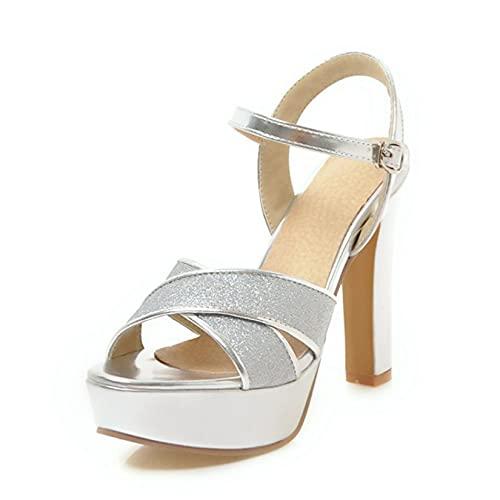 Way bocke Zapatos de Novia para Mujer, Correa de Tobillo Brillante para...