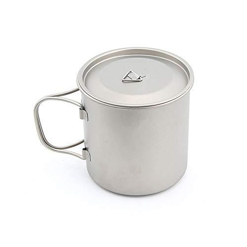 XYZZ 450 ml ultraleichter Titan-Campingbecher, doppelwandige Kaffeetasse aus reinem Titan, ungiftig, sicher und gesund, leicht zu reinigen, für Reisen und Wandern geeignet