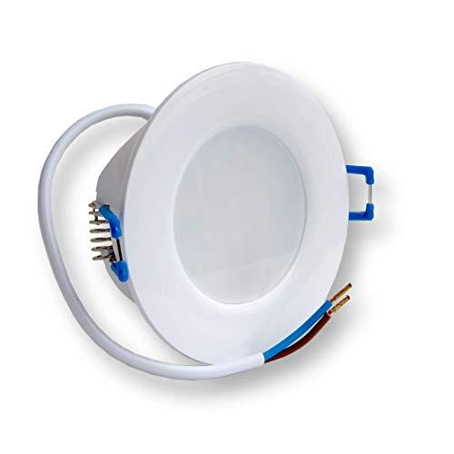Juego de 6 focos LED empotrables, luz blanca cálida, ultraplanos, 230 V. Lámpara de techo para interior y exterior. Foco empotrable de bajo consumo clase de eficiencia energética A+ 5 W