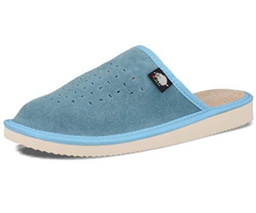 Ecoslippers Suede Touch Green, Damen Durchgängies Plateau Sandalen mit Keilabsatz, Blau - blau - Größe: 39