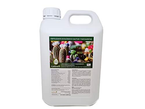 CULTIVERS Fertilizante Liquido Ecológico Cactus y Crasas de 5 L. Crecimiento Saludable con Mayor Floración. Plantas más Resistente a Enfermedades. Abono 100% Orgánico y Natural