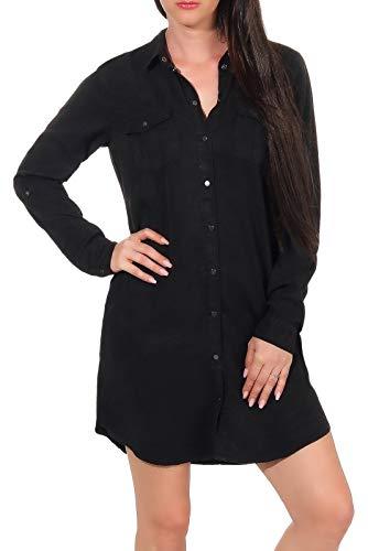 Vero Moda Vmsilla LS Short Dress Blck Noos Ga Vestido, Negro (Black Black), 38 (Talla del Fabricante: Small) para Mujer