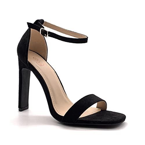 Angkorly - Modne damskie buty czółenka czółenka czółenka - wysokie obcasy - wieczorne - otwarte - proste podstawowe - stringi szpilka na wysokim obcasie 11 cm, - Czarny - 18 EU