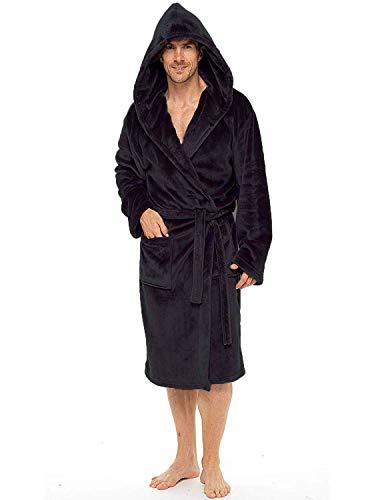 Bata para hombre, súper suave, de forro polar, con capucha, albornoz cálido y acogedor Negro Con capucha negra. M/L