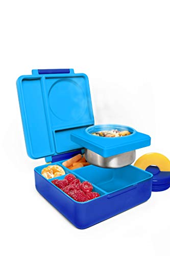 Kids Lunch Box, OmieBox Bento Box, Insulated Bento Lunch Box with Leak Proof Thermos Food Jar, Meal Prep Container, Two Temperature Zones - (Blue Sky) (Single)