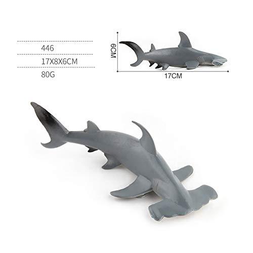 XuBa Simulierte Haifisch-Modellier-Dekoration für Kinder, frühe Lernspielzeug, Geburtstagsgeschenk, Geschenk für Kinder 446 Hammerhead Shark 80g