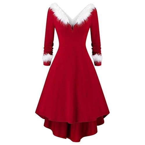 FRAUIT Costume Adulto Vestiti Donna Elegante Lungo da Sera Natale Velluto V-Collo Vestito Babbo Natalizio Ragazza