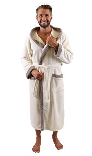 Betz Bademantel Morgenmantel Saunamantel mit Kapuze Damen Herren Unisex Wellness- Hotel- Bademäntel Farbe beige Größe L