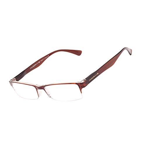 JIMMY ORANGE 老眼鏡 使いやすい 超 軽量 茶色 おしゃれ老眼鏡 パソコン用メガ アンダリーム シニアグラス オシャレ PC ネメガ メンズ レディース ケース付き AM3221001300